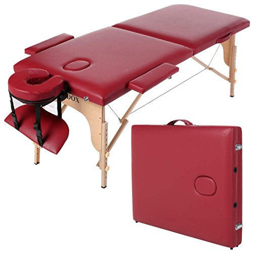 Homdox-DF Professional Massage Table, Two-Fold Portable Massage Tables Facial Spa Tattoo Bed, Red Wood
