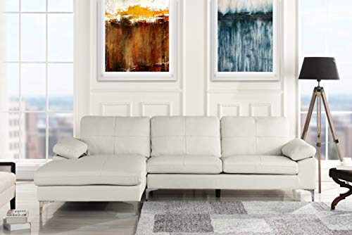 Leather Sectional Sofa, L-Shape Couch with Chaise (White)