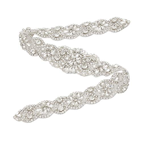 Wedding Dress Garter - Yanstar Wedding Bridal Pearls Rhinestones Appliques For Bridal Sash Silver Crystal