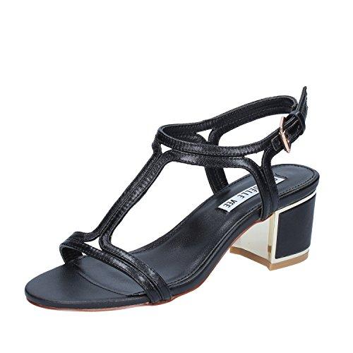 Vestir De Para Negro Piel Mujer Vee Sandalias Emanuelle wqft11