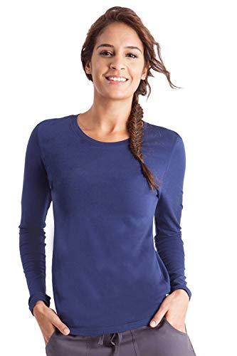 healing hands Scrubs Melissa 5047 Knit Long Sleeve Underscrub Tee Shirt- Navy- M