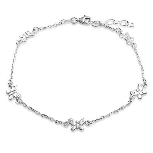 - 5 Multi Butterfly Anklet Charm Ankle Bracelet For Women 925 Sterling Silver 9-10 Inch With Extender