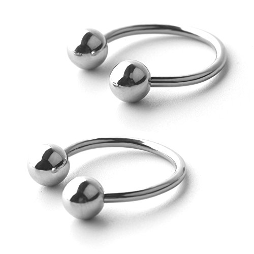 Ruifan 14G 16mm CBR Horseshoe Circular Rings 316L Surgical Steel for Lip Eyebrow Tongue Nipple Helix Tragus Cartilage Septum Piercing Jewelry 2PCS