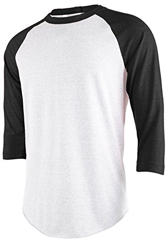 TL Men's Basic 3/4 Sleeve Baseball Top Fitted Tri-blend Raglan T-Shirt (2XLARGE, WHITE_BLACK) (Sleeve Blend Tri Raglan)