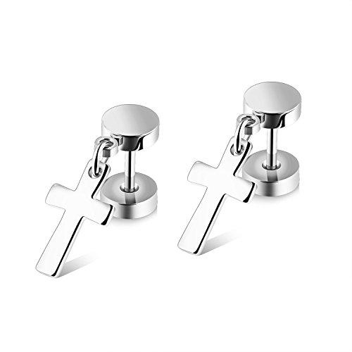 Chryssa Youree Mens Womens Stainless Steel Jewelry Polished Cross Stud Earrings Set Ear Piercing Plugs Tunnel Punk Style(ED-46) (silver)