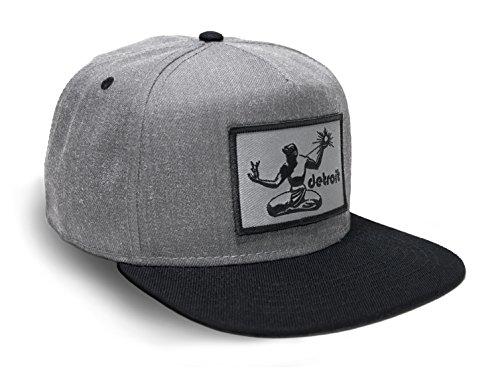 Strange Cargo Tees Black and Grey Detroit Flag Patch Baseball Flat Brim Snapback Hat