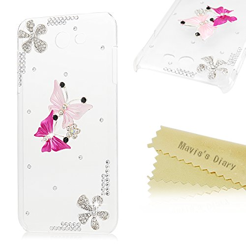 Galaxy J7 2017 Case, Mavis's Diary 3D Handmade Bling Shiny Crystal Rhinestone Diamonds Pink Butterflies Ultra Slim Fit Clear Hard PC Plastic Full Edge Protective Case for Samsung Galaxy J7 V 2017