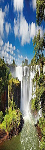 Americana Landscape Decor 3D Decorative Film Privacy Window Film No Glue,Frosted Film Decorative,Majestic Waterfall River Argentinean Falls Natural Wonders Scenery,for Home&Office,23.6x59Inch Multi