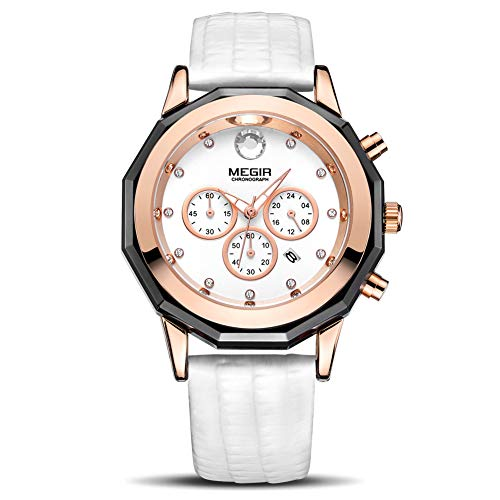 MEGIR Women's Analogue Chronograph Quartz Watch with Fashion Casual Leather Strap for Business & Sport ML2042LREWE-7N0