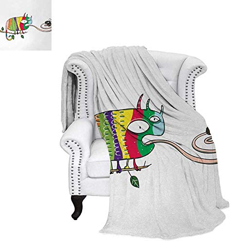 Digital Printing Blanket Colorful Chameleon on The Branch Playing with Grumpy Fly Animal Humor Cartoon Print Lightweight Blanket 60