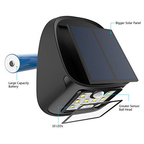 Driveway Lights B Q: Solar Motion Sensor Lights 10 LED Outdoor Waterproof Wall