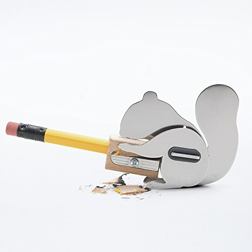 Steel Squirrel (Chipmunk Squirrel Design Portable Handheld Manual Stainless Steel Metal Wood Cute Mini DIY School Kids Office Pencil Sharpener)