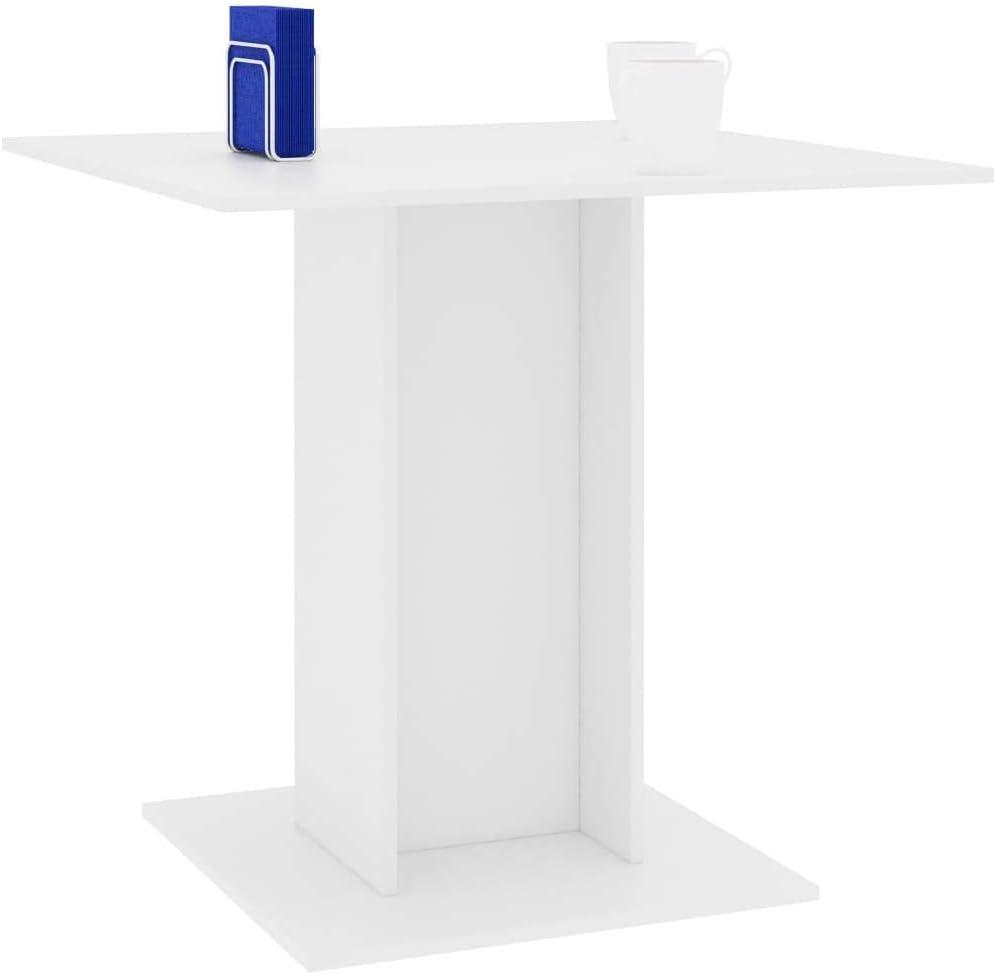 vidaXL Tavolo da Pranzo Stile Minimalista Elegante Moderno Semplice Robusto Tavola Arredo Cucina Bianco 80x80x75 cm in Truciolato
