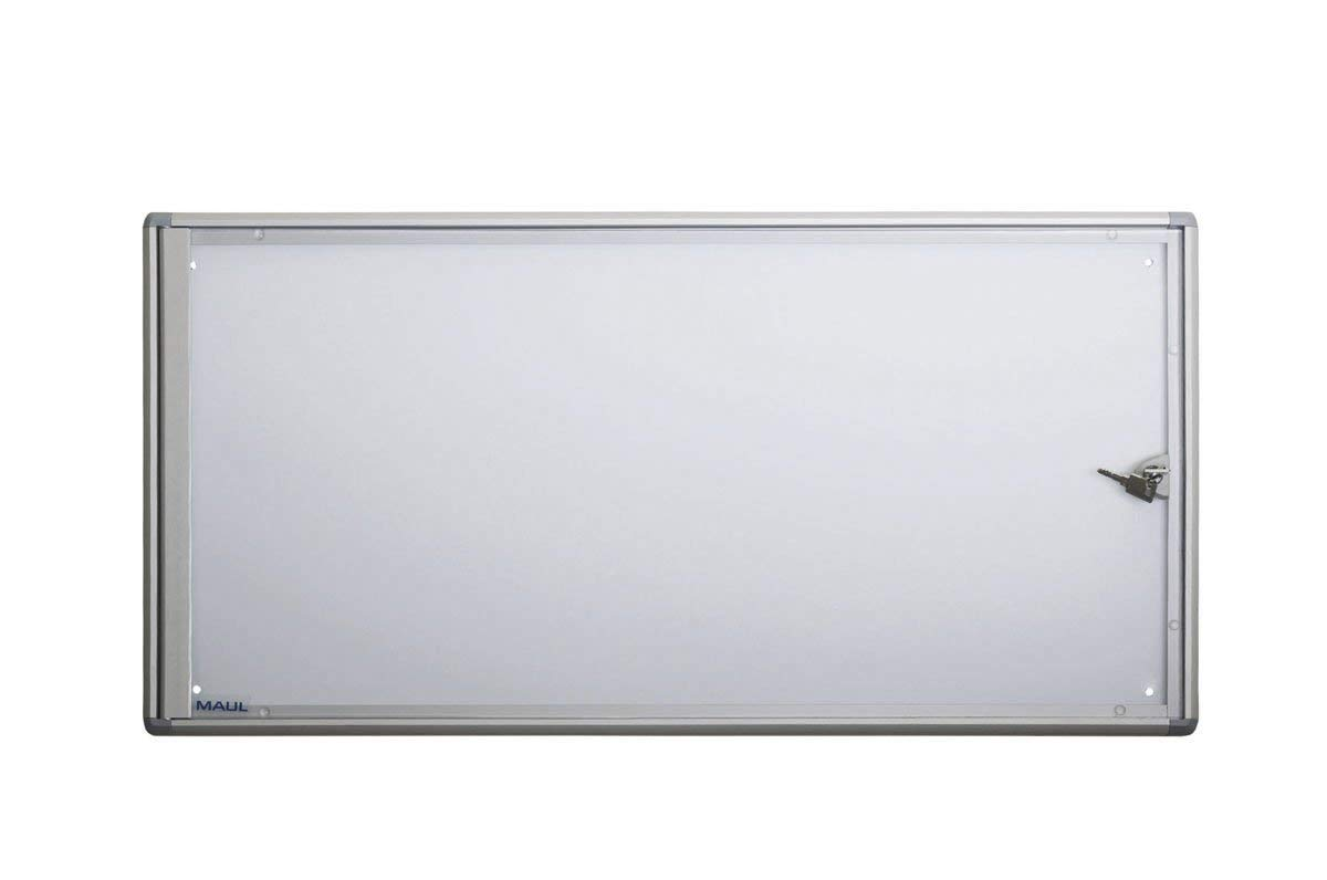 Maul 6820308 Schaukasten Extraslim, 3x A4, Magnetisch, Abschließbar, 35 x 71,1 x 2,7 cm (HxBxT), Aluminium Profil, Silber