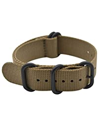 ArtStyle Watch Band with Thick Nylon Material Strap and High-End Black Buckle (Matte Finish) (20mm, Khaki)