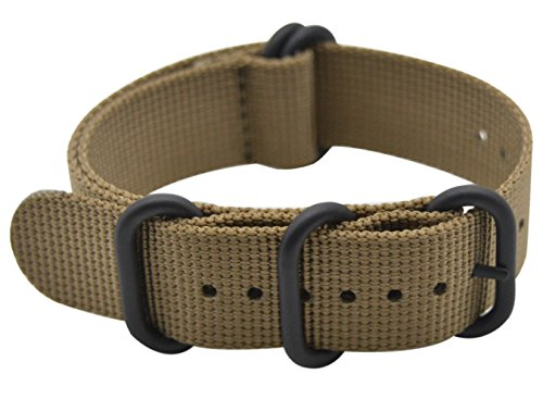 - ArtStyle Watch Band with Ballistic Nylon Material Strap and High-End Black Buckle (Matte Finish) (Khaki, 22mm)