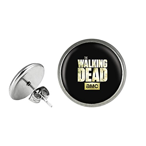 The Walking Dead Post Stud Silvertone Premium Quality Earrings Movie Theme AMC Zombie Daryl Rick Carl Maggie -