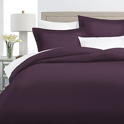 Italian Luxury 100% Long-Staple Combed Cotton Duvet Cover Set - Hypoallergenic Duvet Cover with Zippered Closure and Matching Shams - Full/Queen - Purple (Purple Cover Full Queen Duvet)