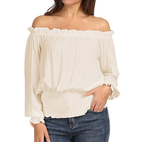 (Women's Off Shoulder Pirate Boho Renaissance Blouse Shirt Top 2XL)