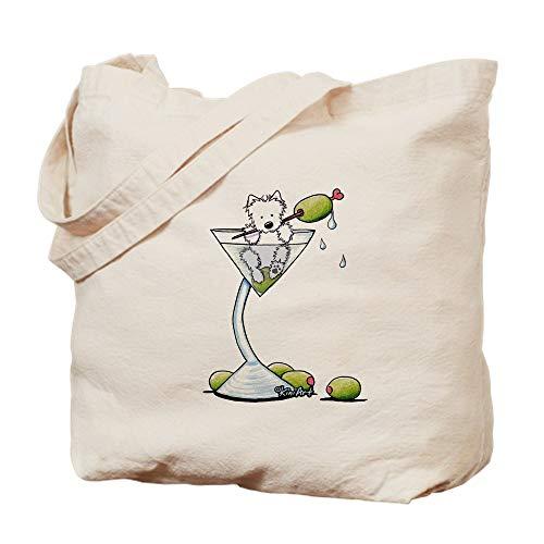 CafePress Kiniart Westie Martini Natural Canvas Tote Bag, Cloth Shopping Bag