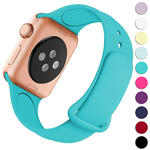 Teal Band - Haveda Bands Compatible with Apple Watch Band 38mm 40mm, Soft Silicone Sport Strap Wristband for Women Men with iWatch Series 4, Series 3, Series 2, Series 1, Teal, 38/40M/L