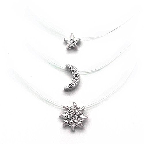 - KIS-Jewelry Triple Strand Celestial Invisible Necklace