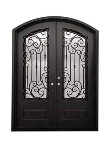 (Alvarado Exterior Front Entry Door Wrought Iron with Operable Tempered Rain Glass 72
