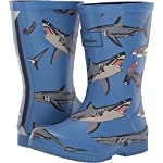 Joules Kids Boys Roll Up Packable Welly Rain Boot (Toddler/Little Kid/Big Kid) Light Blue Sharks 1 Little Kid