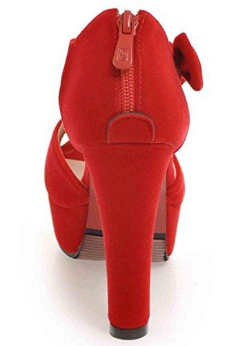 Easemax Womens Bowknot Dolce Nubuck Peep Toe Fibbia Cinturino Alla Caviglia Piattaforma Alti Sandali Tacco Grosso Rosso