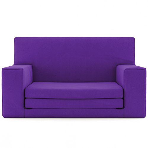 2 in 1 Childrens Sofa Bed in Radiant Orchid with Memory Foam Blend – Super Soft & Safe Flip Out Couch Bed for Kids Age 1 -4 - TV Lounge (Junior Child Bean Bag)