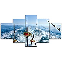 5 Piece Canvas Art Fishing Rod at Sea Sailing Painting Wall Art Modern Home Decor for Living Room Modern Artwork Framed Ready to Hang (60''W x 32''H, Artwork-02)