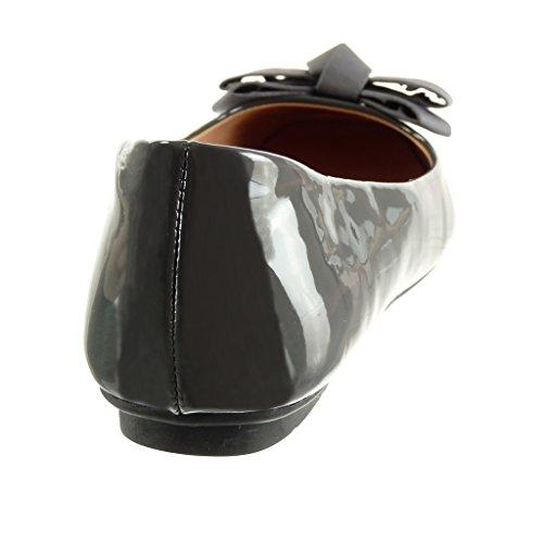 Tacón Talón Cm Slip on Bailarinas De 1 Mujer Plano Zapatillas Patentes Angkorly Moda Nodo Gris OqzgwpAvxx