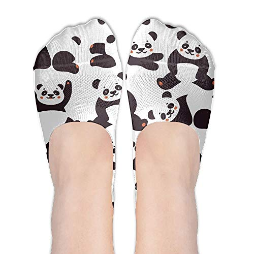 Panda Pattern Low Cut No Show Socks Non Slip Boat Liner Socks Summer Socks For Women ()