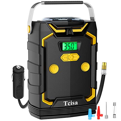 Tcisa DC 12V Portable Air Compressor Pump Tire Inflator with Digital Pressure Gauge 150psi for Car Bicycle and Other Inflatables