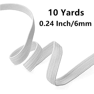"BUSEN 10-Yards Length 1/4"" Width Braided Elastic Cord/Elastic Rope/Elastic Band/Bungee/White Heavy Stretch Knit Elastic Spool (0.24 Inch(6mm)): Arts, Crafts & Sewing"