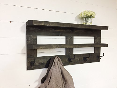 Rustic Wooden Hall Shelf & Coat Rack 36