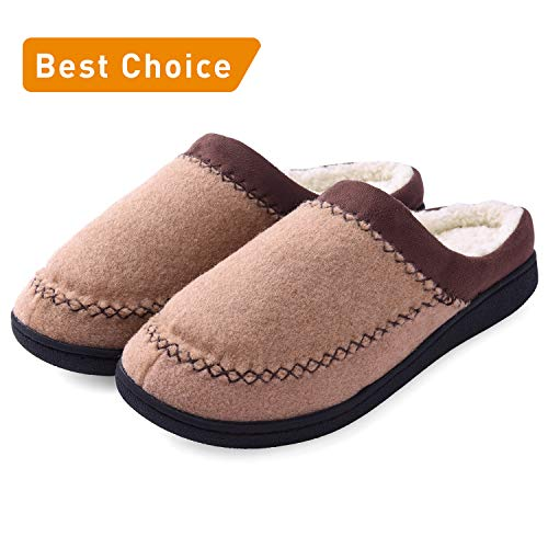 Women's Cozy Comfort Memory Foam Slippers, Soft Warm Slip On House Slippers Shoes Clog w/Indoor Outdoor Anti-Skid Rubber Sole (Medium/7-8 B(M) US, Camel)