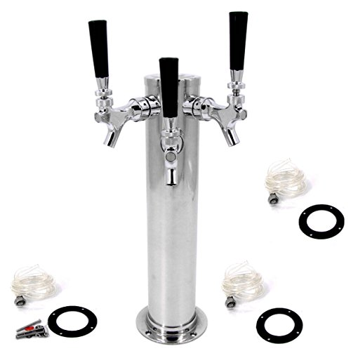 "HFS(R) Brass Faucet Draft Beer Kegerator Tower 3"" Column Stainless Steel (Triple Faucets)"