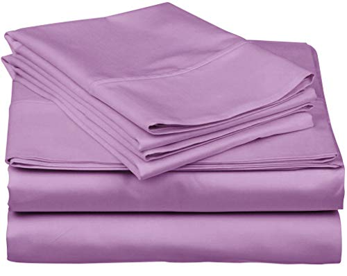 True Luxury 1000-Thread-Count 100% Egyptian Cotton Bed Sheets, 4-Pc King Lilac Sheet Set, Single Ply Long-Staple Yarns, Sateen Weave, Fits Mattress Upto 18'' Deep Pocket