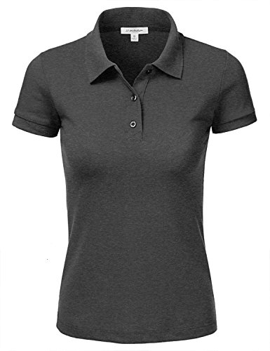 d31034b6 JJ Perfection Women's Classic 3-Button Short Sleeve Slim Fit Golf Polo Shirt  CHARCOALGREY S