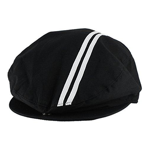 Morehats Men's Women's Unisex 100% Cotton Sweat Proof Mesh Lined Double Striped Newsboy Cap Gatsby Hat - Black