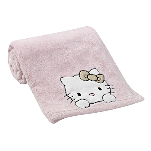Bedtime Originals Hello Kitty Luv Blanket, Pink/Gold (Kitty Blankets Hello)