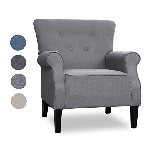 Top Space Accent Chair Sofa Mid Century Upholstered Roy Arm Single Sofa Modern Comfy Furniture for Living Room,Bedroom,Club,Office(1 PCs, Gray)