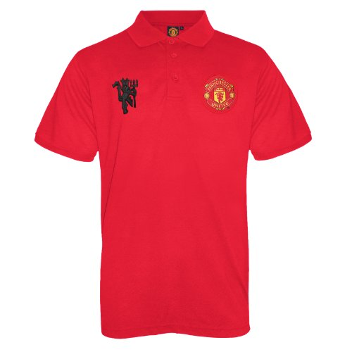 - Manchester United FC Official Soccer Gift Mens Crest Polo Shirt Red Large