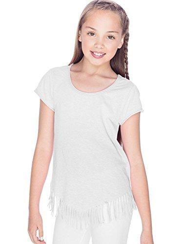 ersey Raw Edge V Fringe Short Sleeve T-Shirt, White, Small (Sheer Kids Shirt)