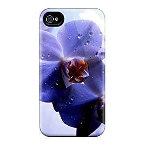 Fashion Tpu Case For Iphone 4/4s- Violet Orchids Defender Case Cover