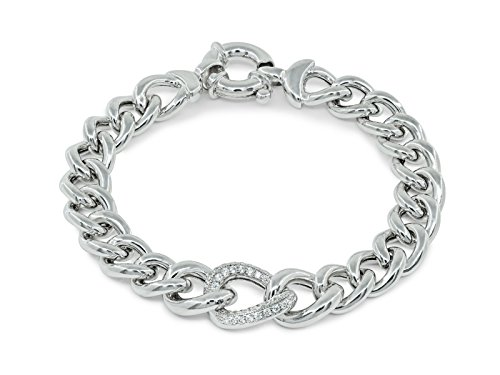 Fronay Co .925 Sterling Silver Veneto Style CZ Curb Links Bracelet by Fronay Collection