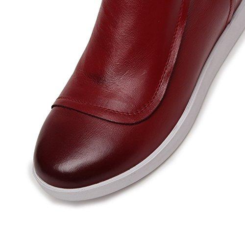 Zapatillas De Tacón Bajo De Punta Redonda Para Mujer Amoonyfashion Con Suela De Goma Y Interior En Rojo