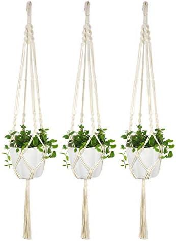 3 Stück Pflanzenhänger, MM465 Makramee Blumenampel Baumwollseil, Wandbehang Pflanzkorb Blumentopfhalter Boho Wohnkultur- Schlüsselband 100cm (Enthält Keine Blumentöpfe)