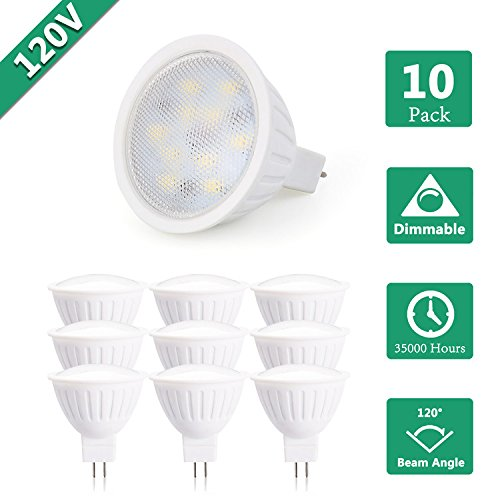 120Volts Dimmable 7W MR16 LED Bulbs with GU5.3 Bi-Pin Base,65W Halogen Bulbs Equivalent, 3000K Soft White for LED Spotlight,Accent Lighting,Recessed and Track Lighting,Landscape Lighting (Pack of 10)